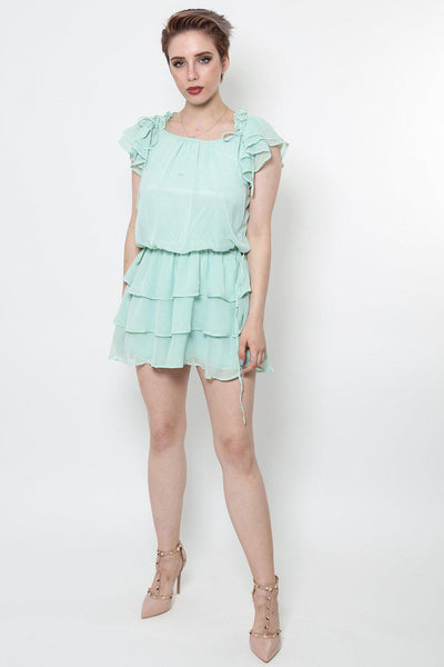 Turquoise Layered Ruffles Hem Dress-SinglePrice