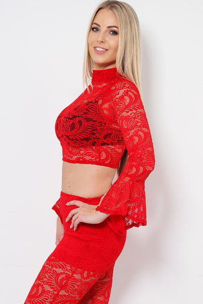 Frill Sleeve Cropped Red Lace Top-SinglePrice