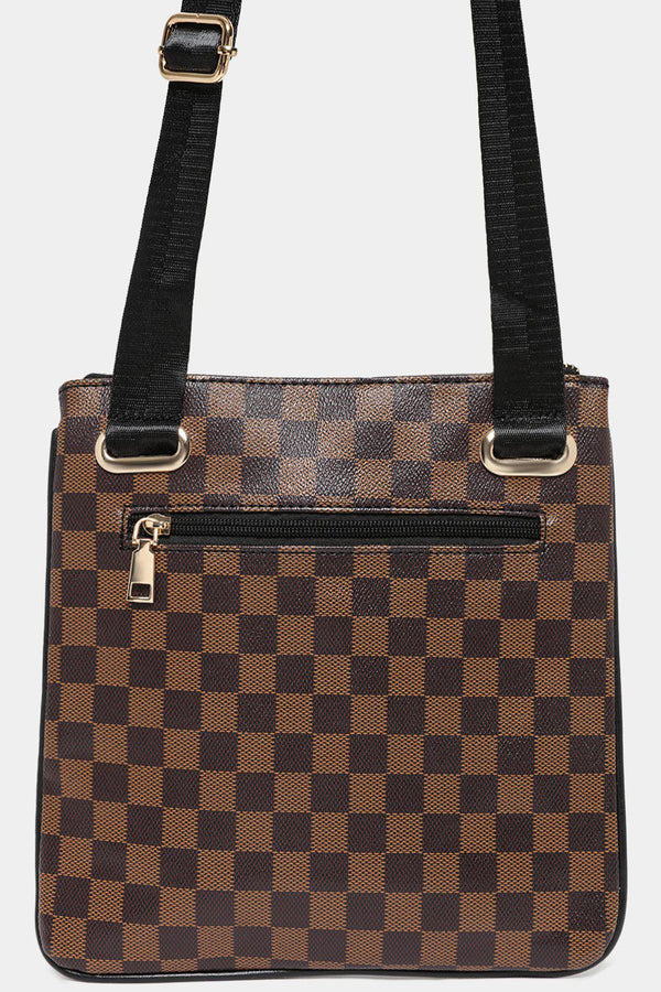 Brown Checked Multi-Pocket Front Messenger bag-SinglePrice