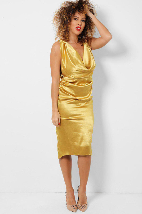 Gold Cowl Neck And back Satin Touch Midi Dress-SinglePrice