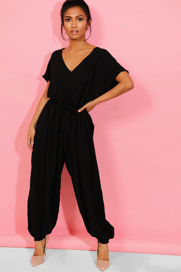 Black Smart Casual Waist Tie Oversized Harem Jumpsuit - SinglePrice