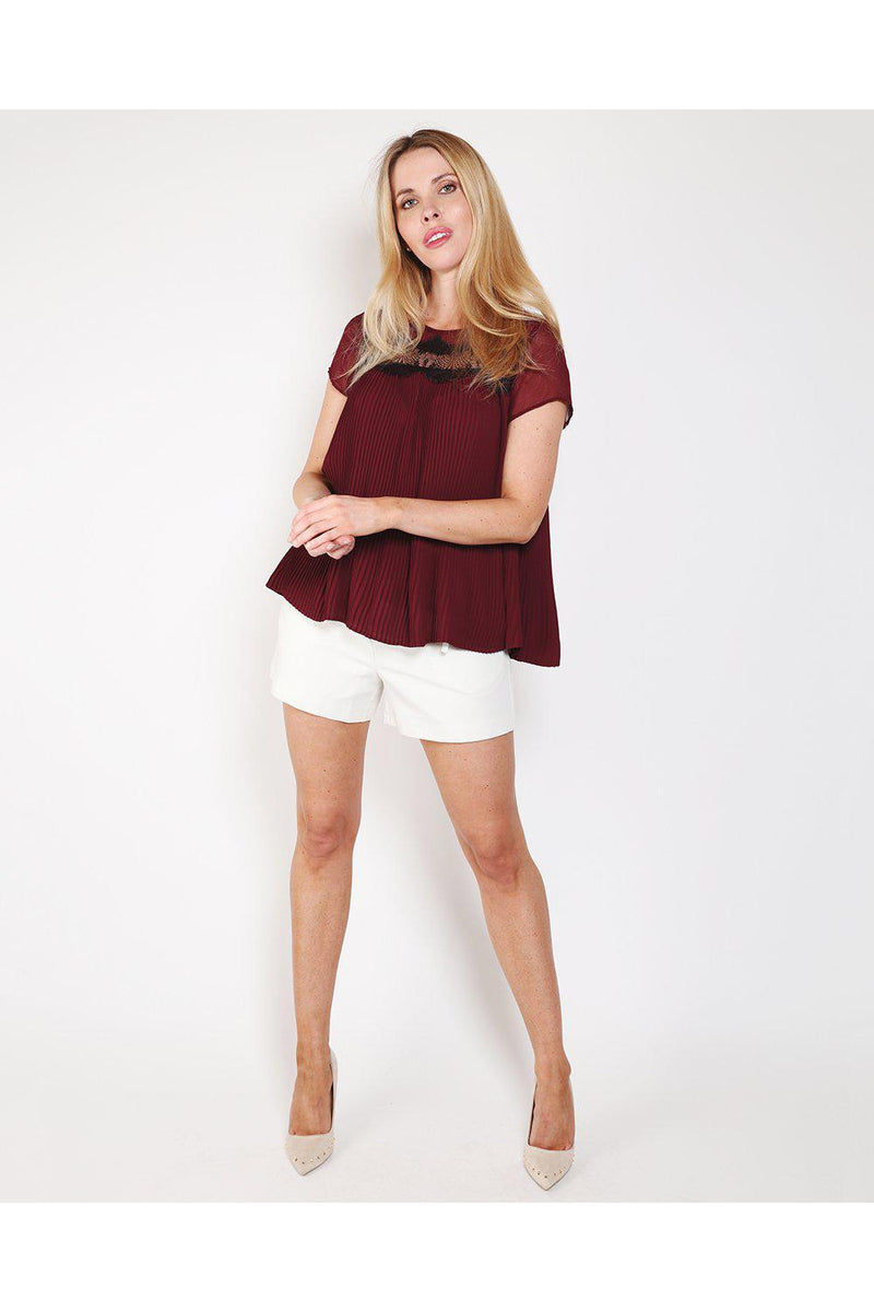Burgundy Pleated Lace Top-SinglePrice
