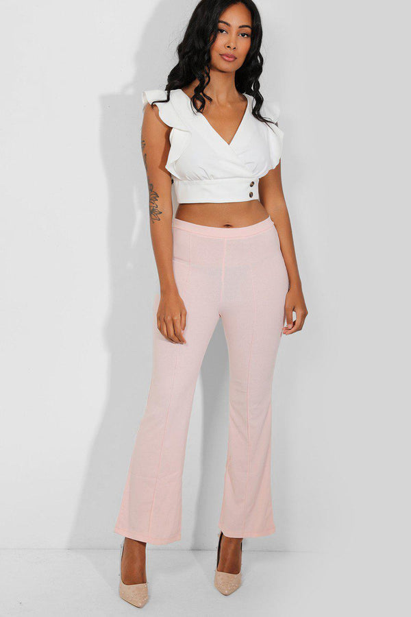 Pink Flute Leg Trousers