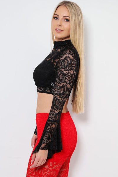 Frill Sleeve Cropped Black Lace Top-SinglePrice