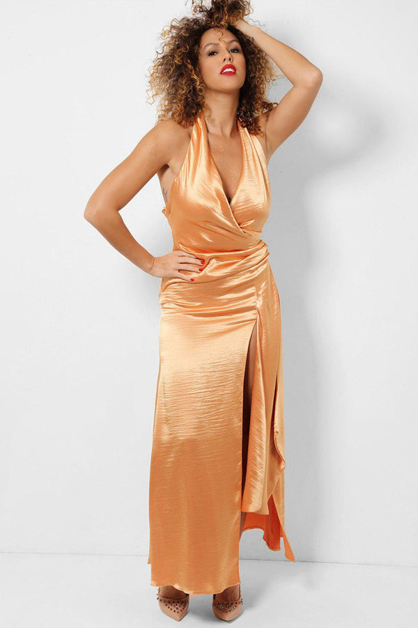 Peach Deep Plunge Halterneck Thigh Split Maxi Dress - SinglePrice