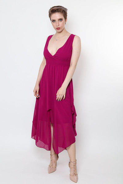 Front Split Ruffle Sides Purple Maxi Dress-SinglePrice