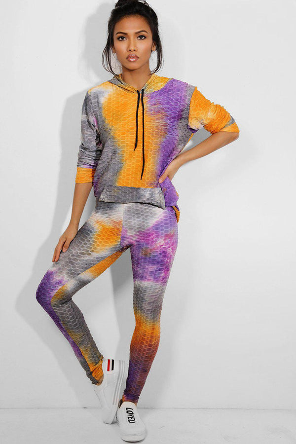 Purple Ruched Tie-Dye Hooded 2 Piece Tracksuit - SinglePrice