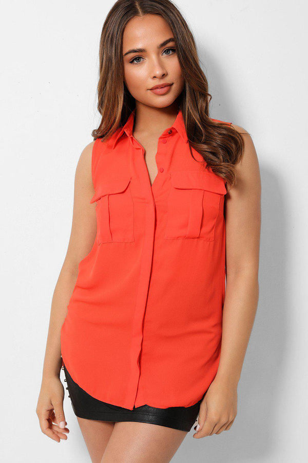 Coral Sleeveless Chest Pocket Shirt - SinglePrice