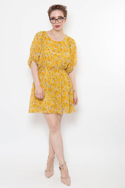 Batwing Sleeve Yellow Chiffon Dress-SinglePrice
