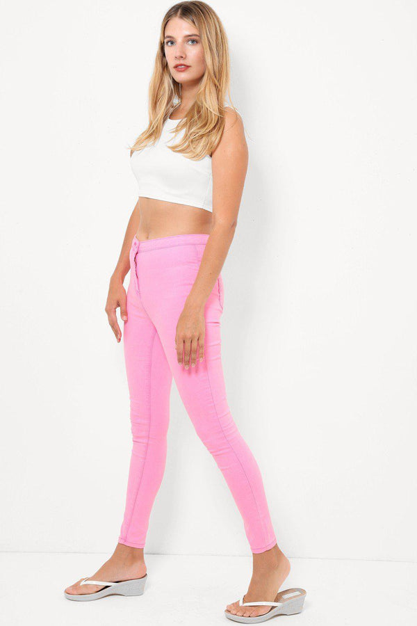 Neon Pink High Waisted Skinny Jeans-SinglePrice