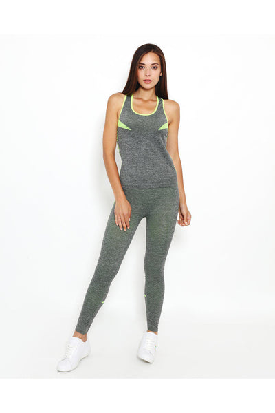 Neon Green Stripes Grey Top And Leggings Sports Set-SinglePrice