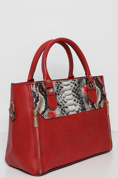 Double Zip Front Snake Panel Red Handbag-SinglePrice