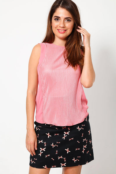 Pleated Chiffon Panel Blush Pink Top-SinglePrice