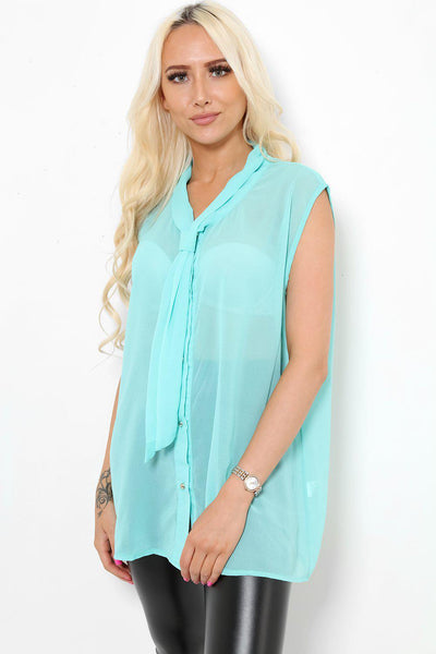 Light Green Neck Tie Sleeveless Blouse-SinglePrice