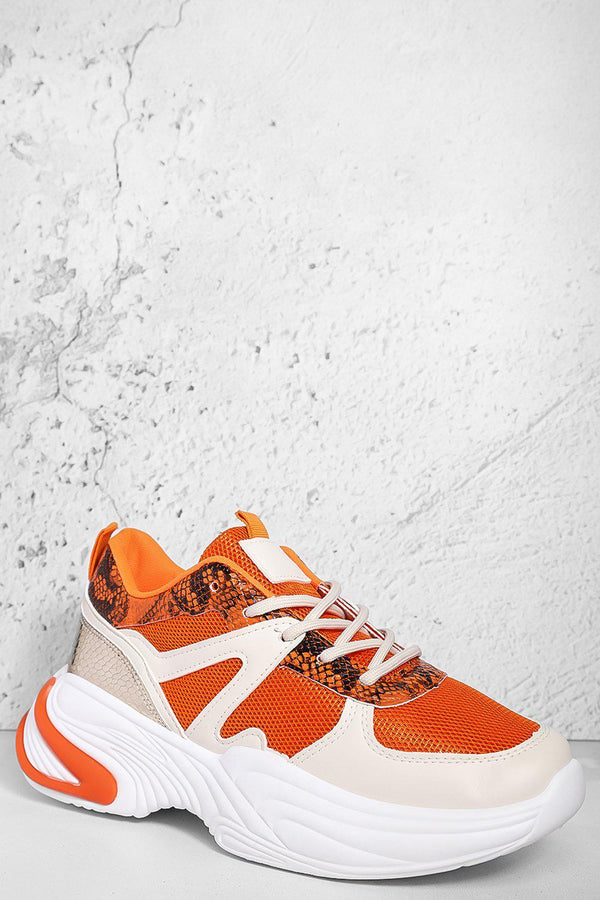 Orange Mixed Media Python Panels Chunky Trainers-SinglePrice