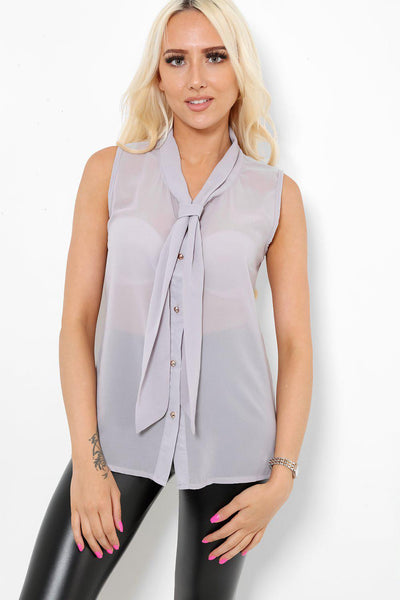 Grey Neck Tie Sleeveless Blouse-SinglePrice