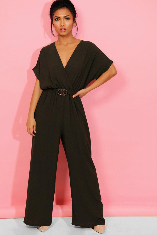 Khaki Wrap Neck Belt Detail Wide Leg Jumpsuit - SinglePrice