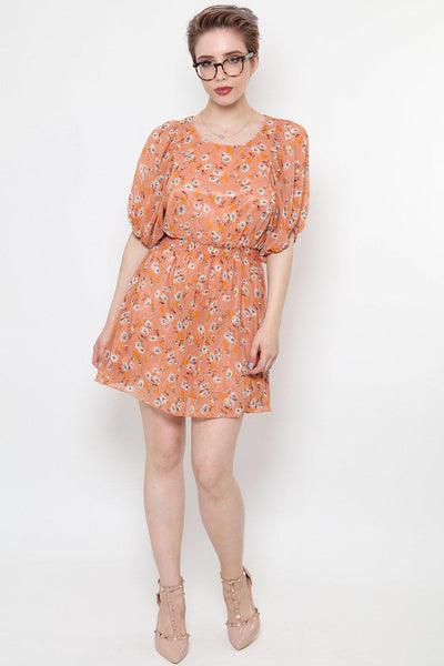 Batwing Sleeve Blush Chiffon Dress-SinglePrice