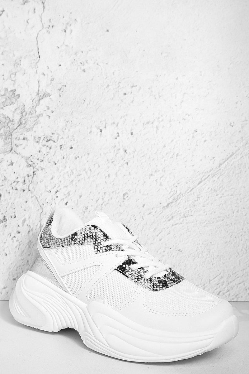 White Mixed Media Python Panels Chunky Trainers - SinglePrice