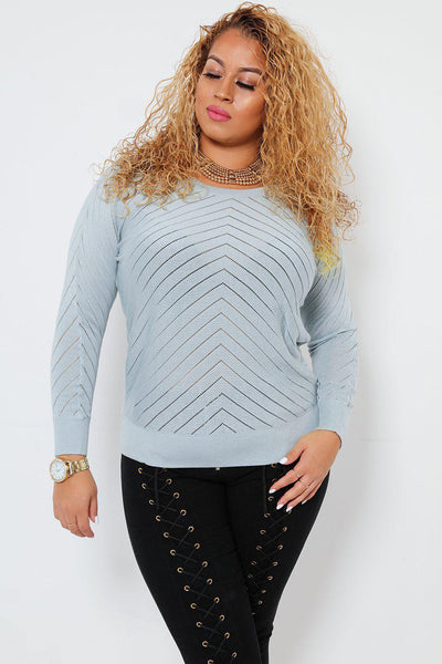 Perforated Zig Zag Pattern Light Blue Batwing Jumper-SinglePrice