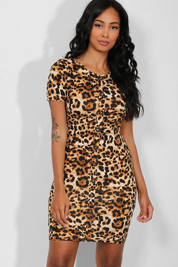 Brown Leopard Print Buttons Details Bodycon Dress-SinglePrice