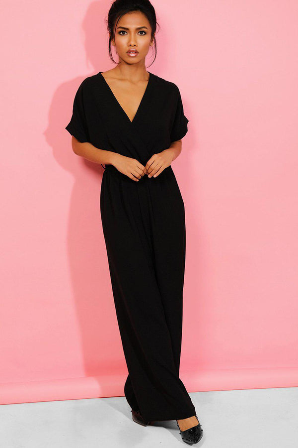 Black Wrap Neck Belt Detail Wide Leg Jumpsuit - SinglePrice