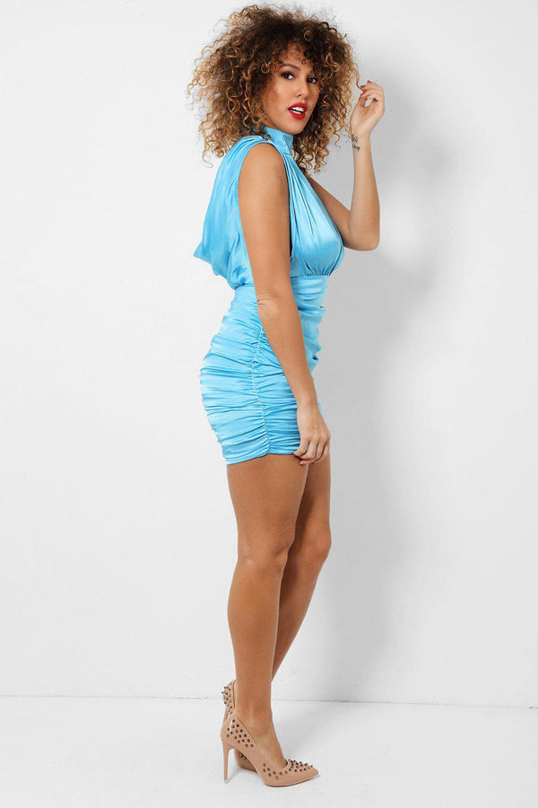 Blue Cut Out Plunge Ruched Sides Satin Touch Mini Dress-SinglePrice