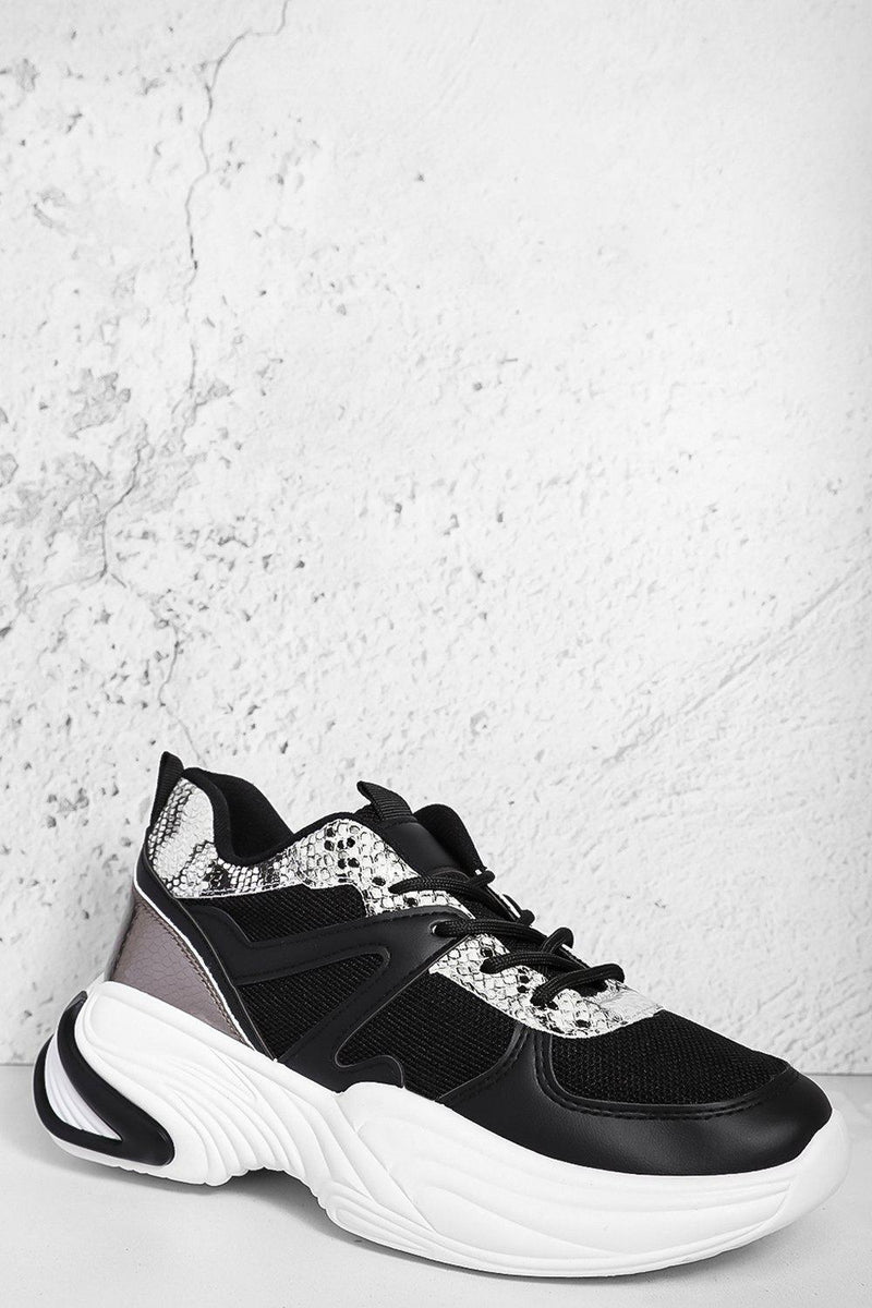 Black Mixed Media Python Panels Chunky Trainers - SinglePrice