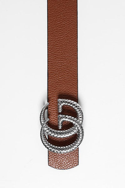 Ridged Silver Buckle Reversible Belt-SinglePrice