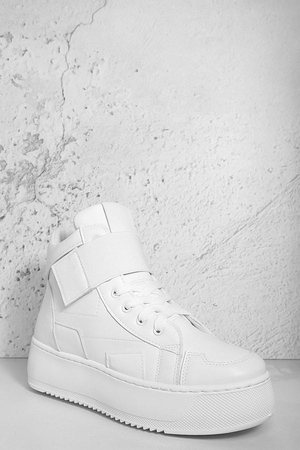 White Velcro Hi Top Flatform Trainers