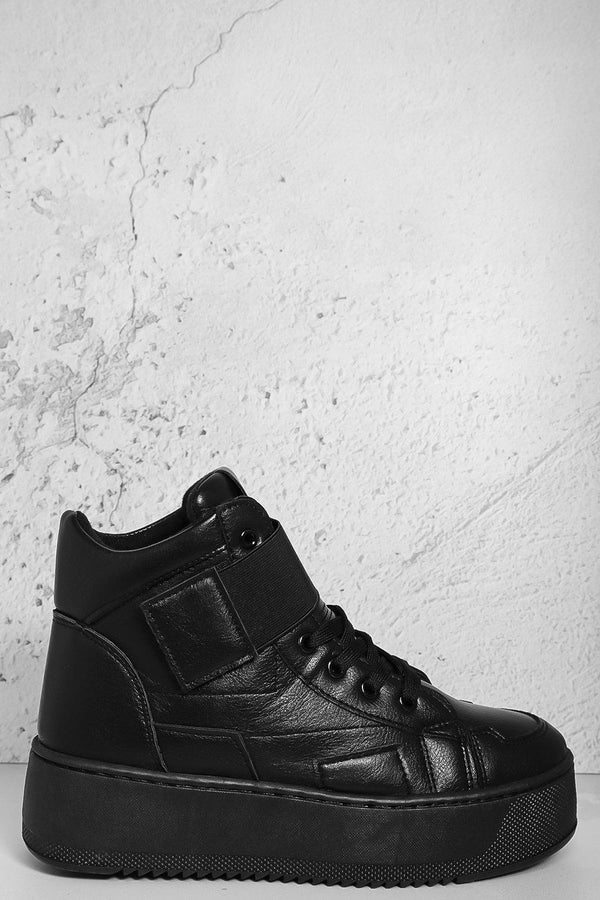 Black Velcro Hi Top Flatform Trainers