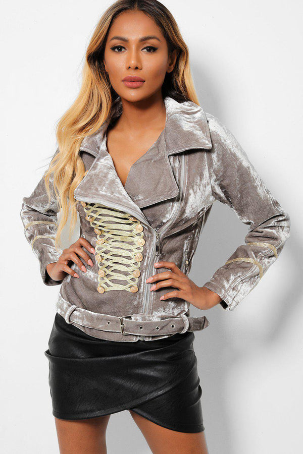 Gold Embroidered Front Grey Belted Velvet Military Jacket - SinglePrice