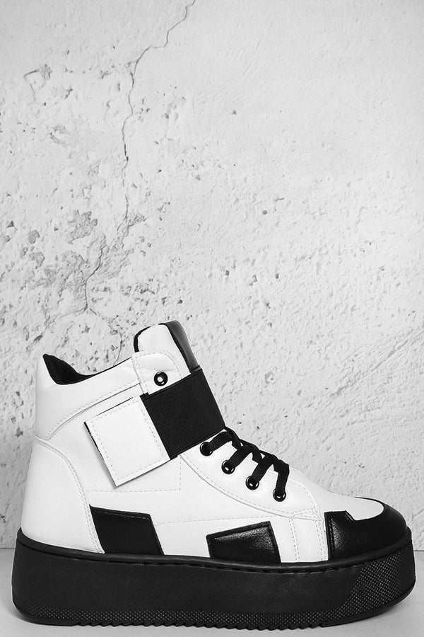 Black White Velcro Hi Top Flatform Trainers