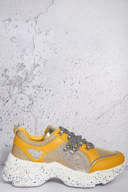 Yellow Ink Splash Glitter Details Trainers - SinglePrice