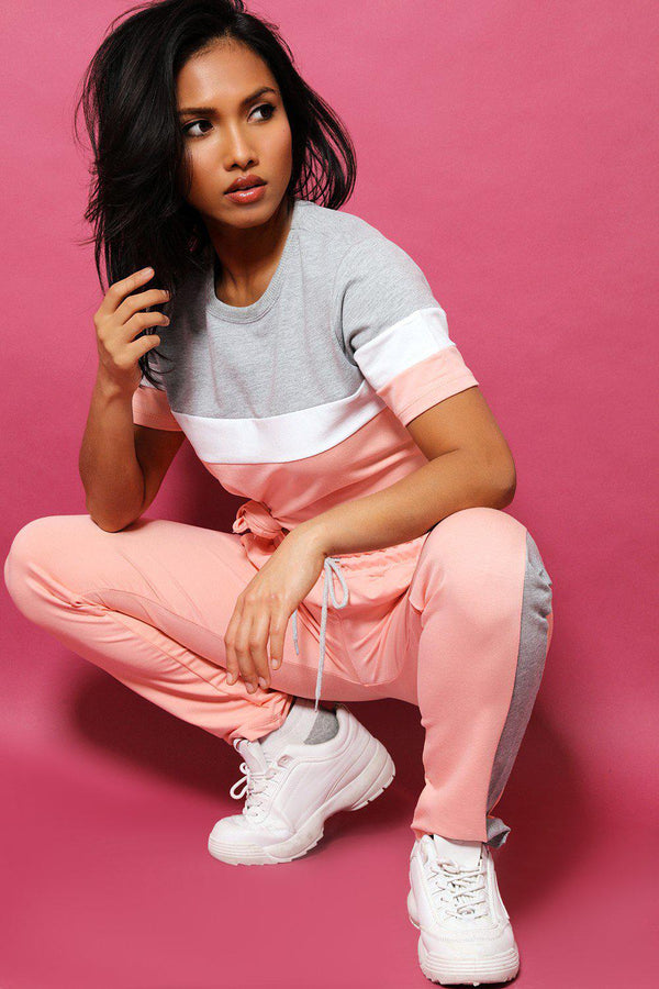 Coral Grey Colourblock T-Shirt And Sport Joggers 2 Piece Tracksuit - SinglePrice