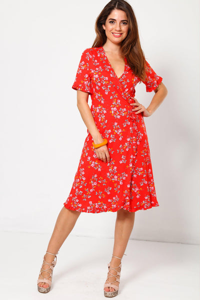 Floral Print Red Wrap Dress-SinglePrice