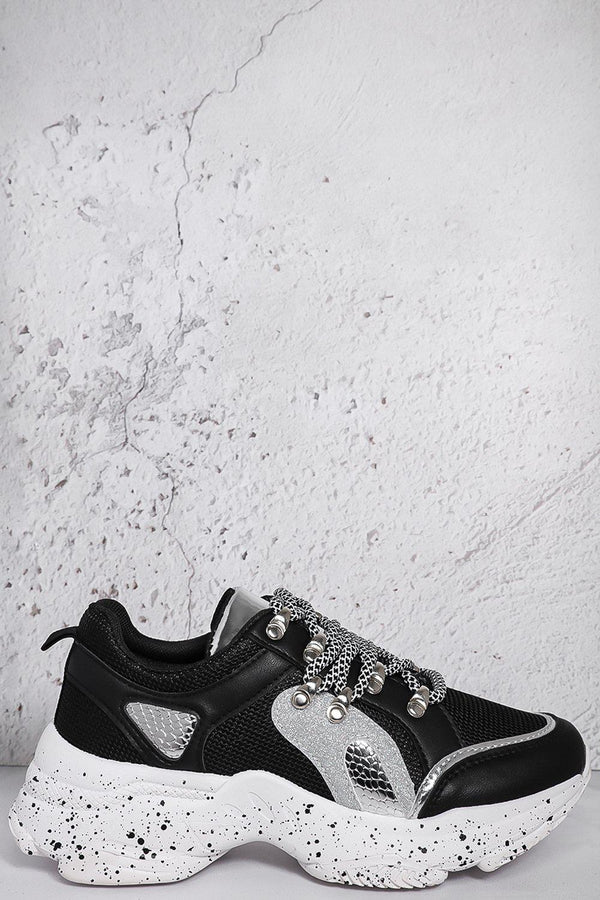 Black Ink Splash Glitter Details Trainers-SinglePrice