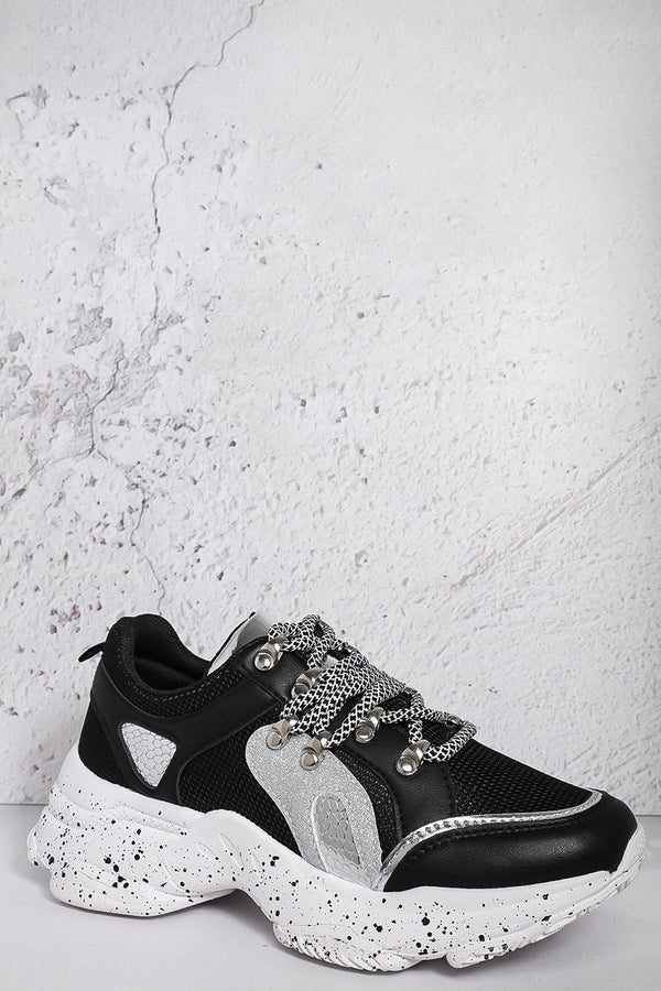 Black Ink Splash Glitter Details Trainers