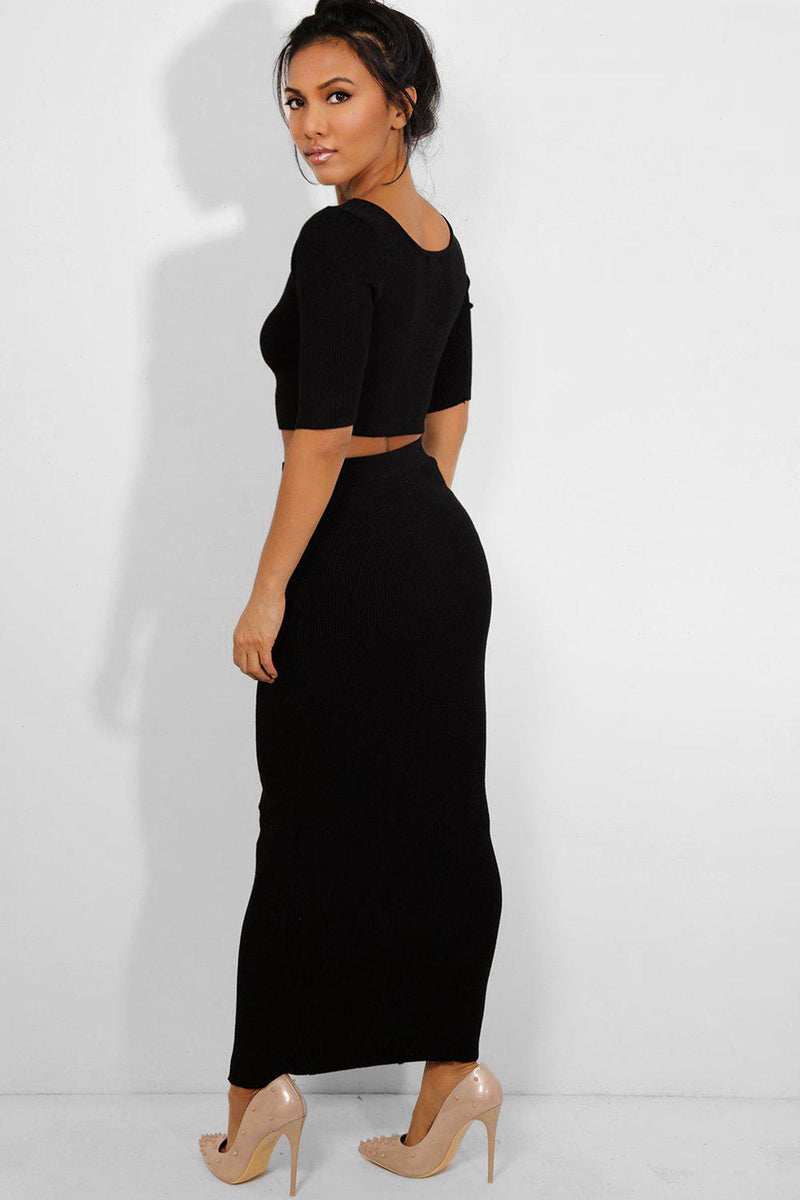 Black Rib Knit Button Details Crop Top And Maxi Skirt Set-SinglePrice