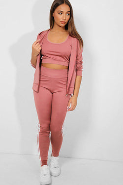 Pink Twin White Stripe 3 Piece Tracksuit - SinglePrice