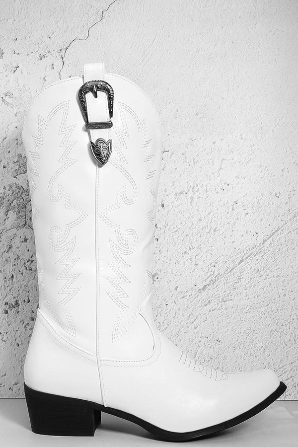 White Embroidered Motif Buckle Pull Straps Cowboy Boots-SinglePrice
