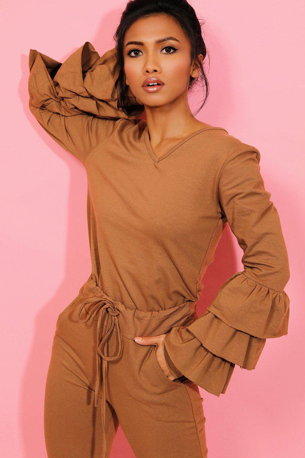 Camel Layered Sleeves Top And Joggers 2 Piece Lounge Set - SinglePrice