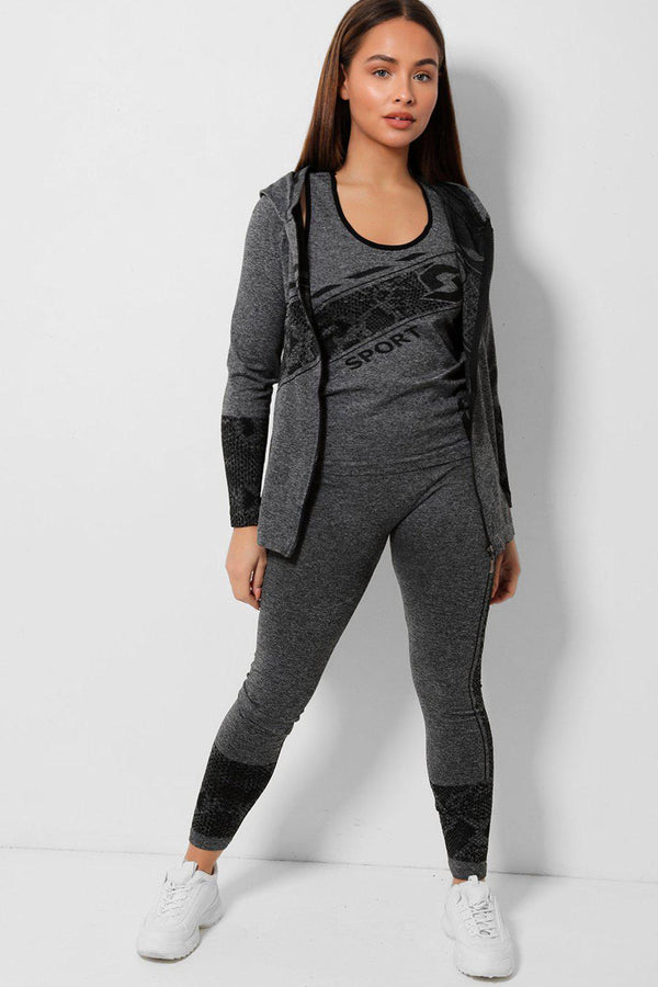 Black Slogan Hooded Grey 3 Piece Tracksuit