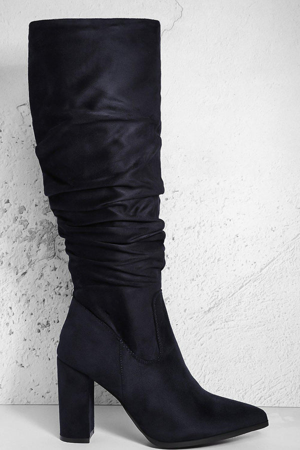 Navy Vegan Suede Ruched Calf Block Heel Boots