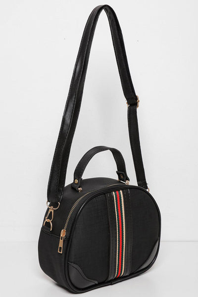 Stripe Front Black Mini Bowler Bag-SinglePrice