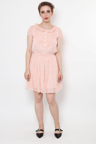 Pleated Skirt Mini Polkadot Dress-SinglePrice