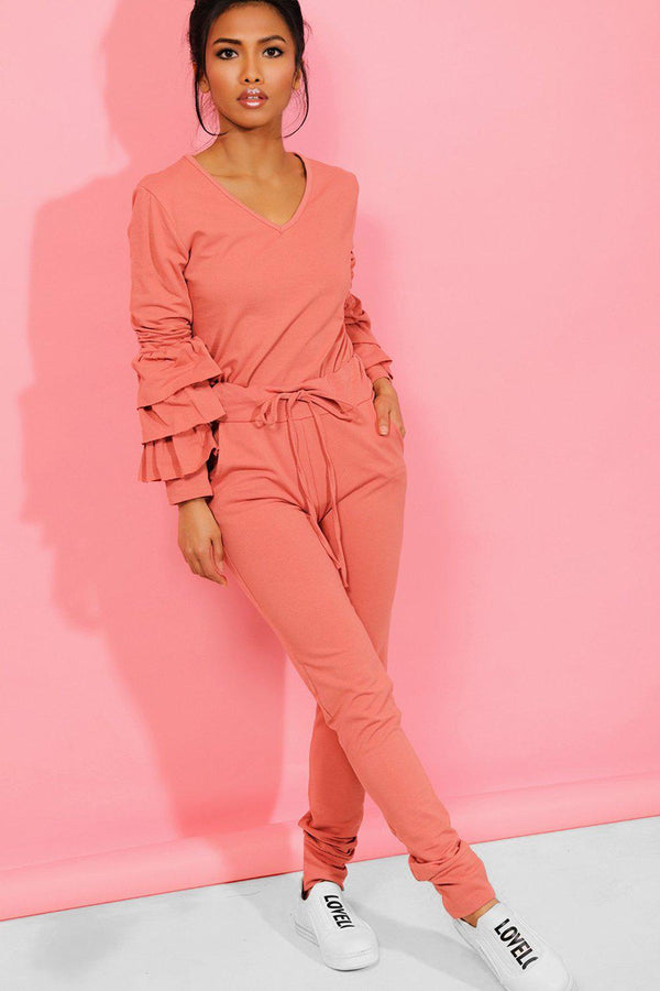 Coral Layered Sleeves Top And Joggers 2 Piece Lounge Set - SinglePrice