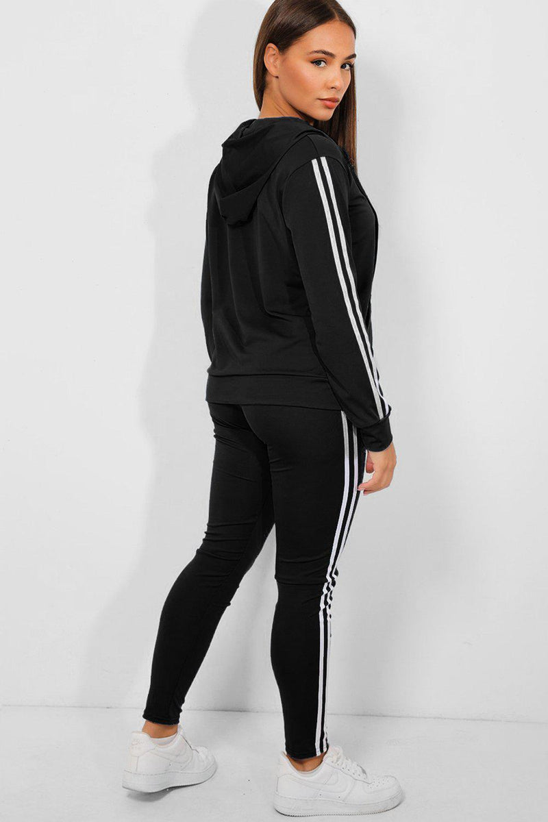 Black Twin White Stripe 3 Piece Tracksuit - SinglePrice