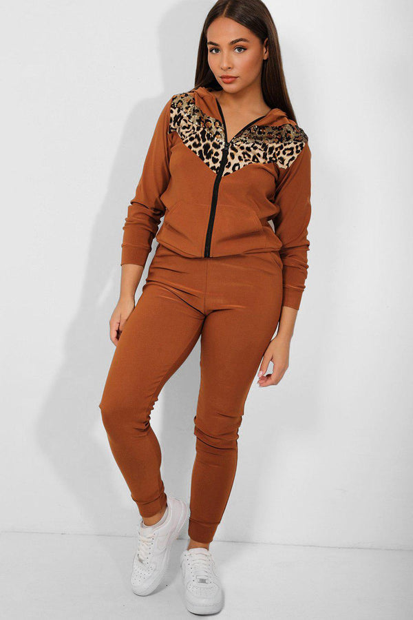 Sequinned Leopard Print Panel Brown 2 Piece Tracksuit - SinglePrice