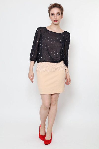 Chiffon Polka Dot Top Beige Skirt Dress-SinglePrice
